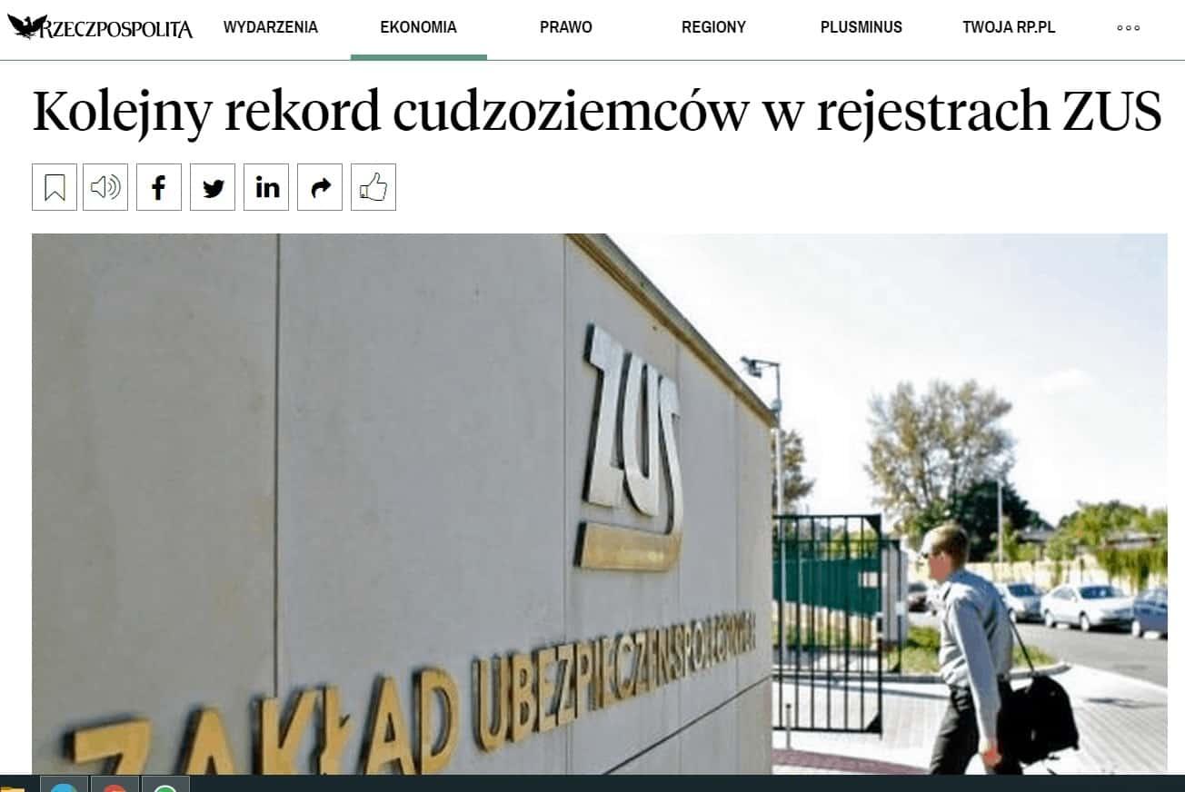 Kolejny rekord cudzoziemców w rejestrach ZUS
