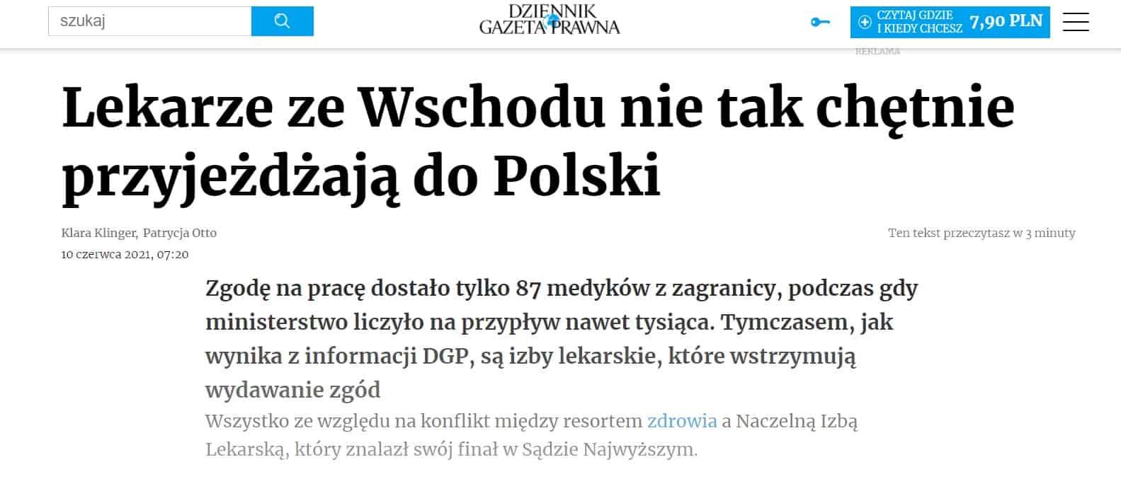 Lekarze ze Wschodu nie tak chętnie przyjeżdżają do Polski